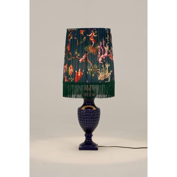 Blue urn shaped lamp image