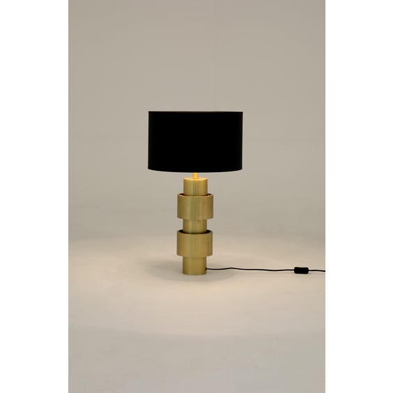Brushed brass column table lamp image