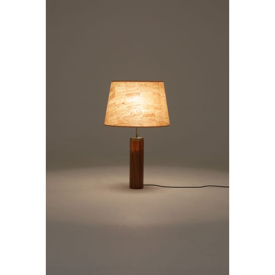 Teak and brass cylindrical table lamp image