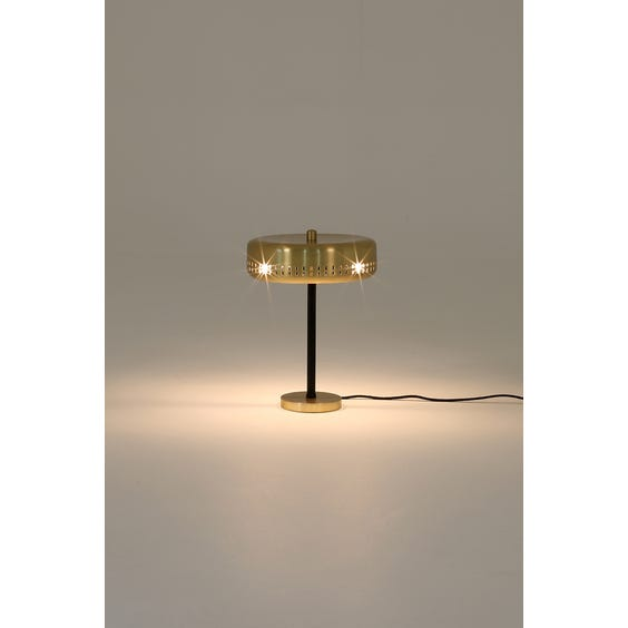 Midcentury brass disc table lamp image