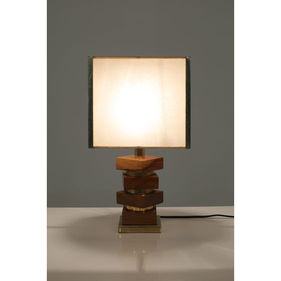 1970s olive wood and brass lamp image