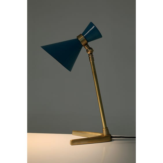 Turquoise metal cone shade lamp image