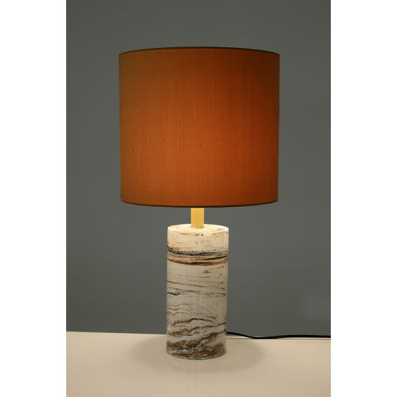 Off white faux marble column lamp image