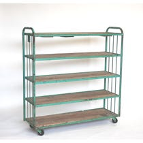 Green metal five shelf trolley