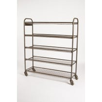 Tall steel mesh shelf trolley