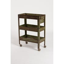 Vintage green metal tiered trolley