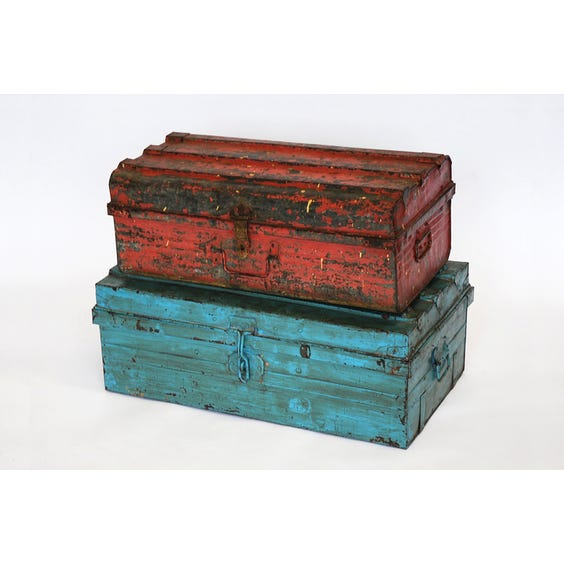 Distressed painted metal trunks image