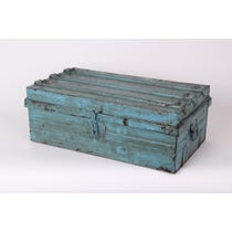 Distressed turquoise metal painted trunk