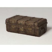 Distressed dark brown storage trunk