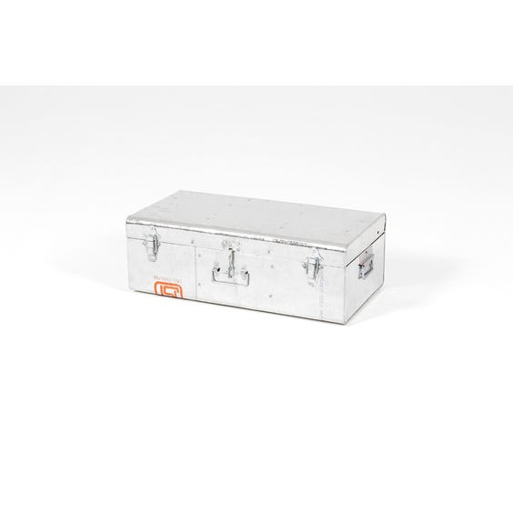 Small shiny metal storage trunk image