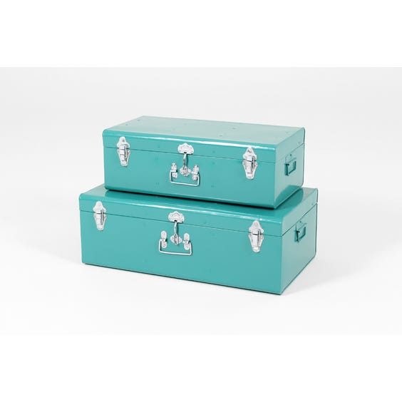 Two modern teal storage trunks image