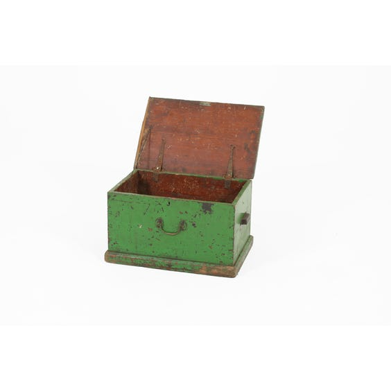Small distressed green wooden trunk image
