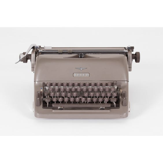 Vintage Adler metallic grey typewriter image