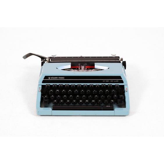 Vintage pale blue typewriter image
